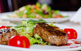 Steak with salad