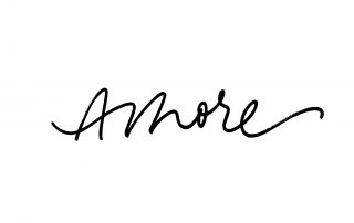 Amore handwritten ink brush vector lettering. Love, italian word handwriting. Valentine day greeting card calligraphy. T shirt decorative print. Romantic feeling, tenderness, amorous relationship.