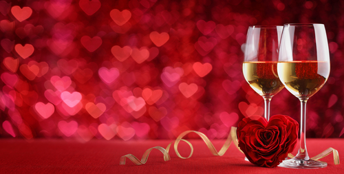 valentines day themed wine glasses